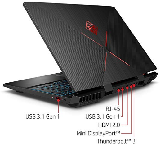 Input ports of the HP Omen 15 gaming laptop