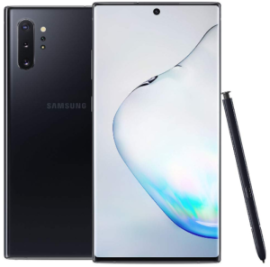 front view of black galaxy note 10 plus