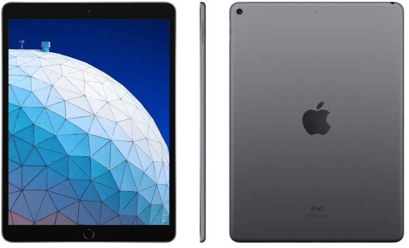 top-rated tablets, apple ipad air 2019 front side and back view