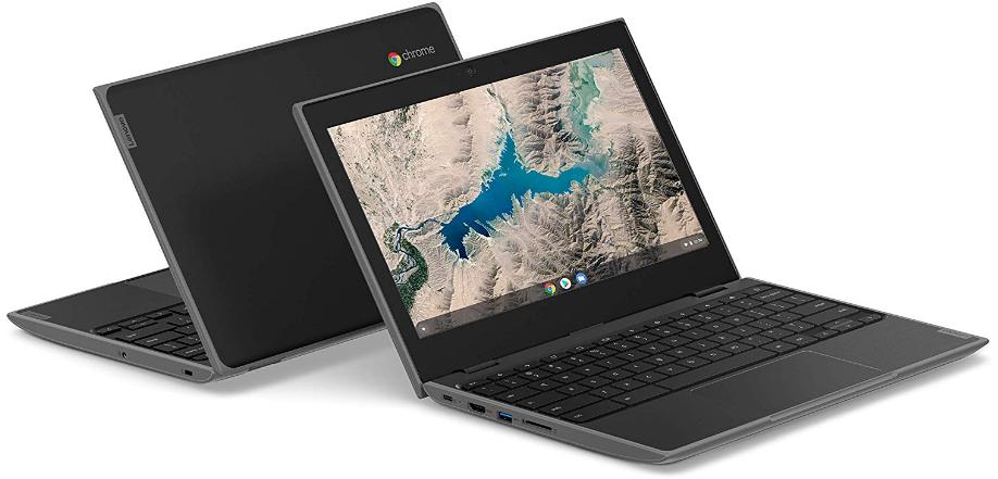Lenovo 100e Chromebook, cheap lenovo laptops, front and back view