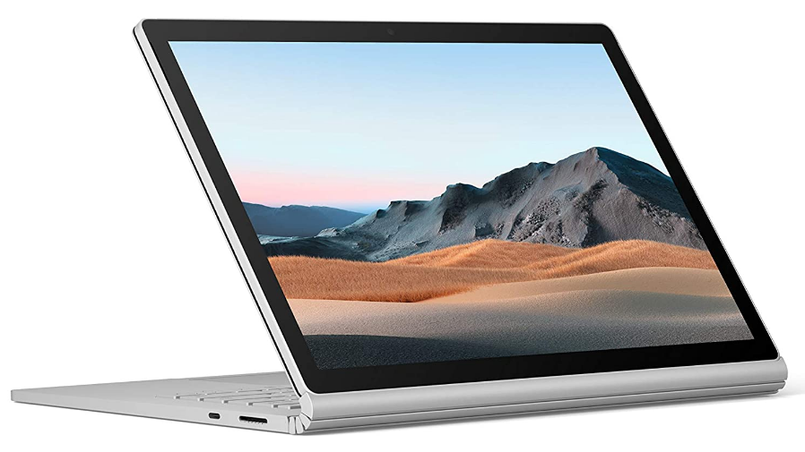 Microsoft Surface Book 3 review of the clam-shell view