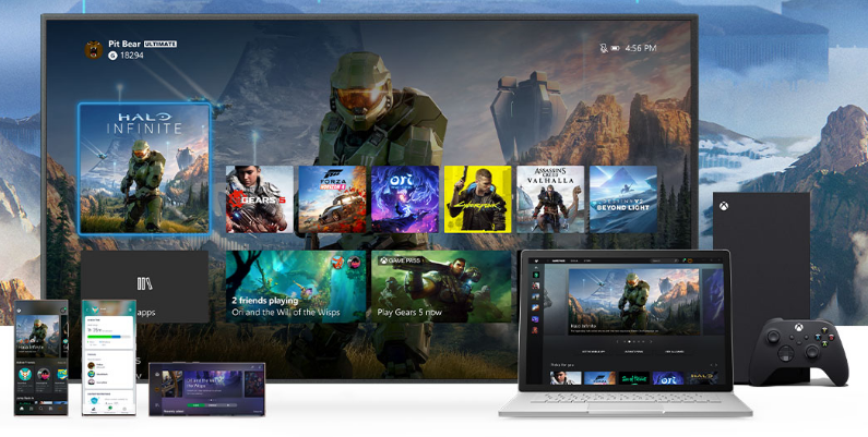 Gaming UI of the Xbox Series X