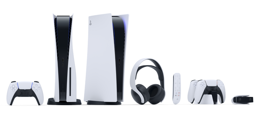 The new PlayStation 5 console and its accessories.