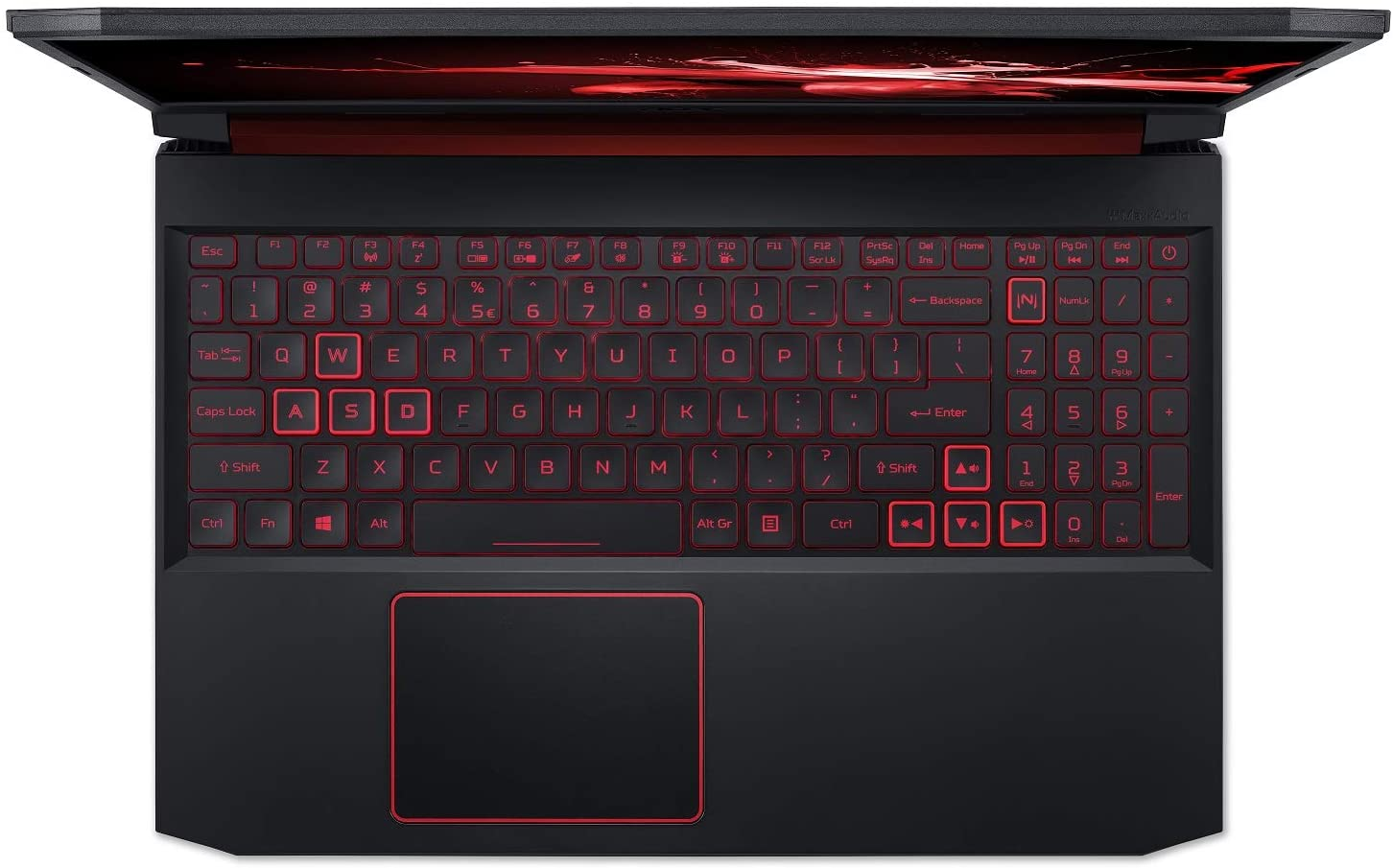 The backlit keyboard and trackpad included on the Acer Nitro 5 gaming laptop.