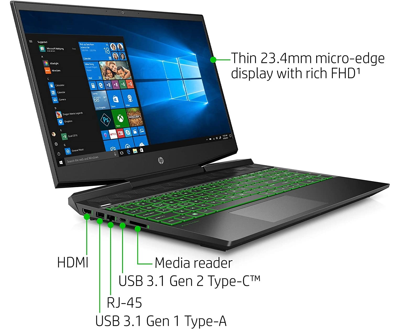 Input ports included on the HP Pavilion 15 gaming laptop