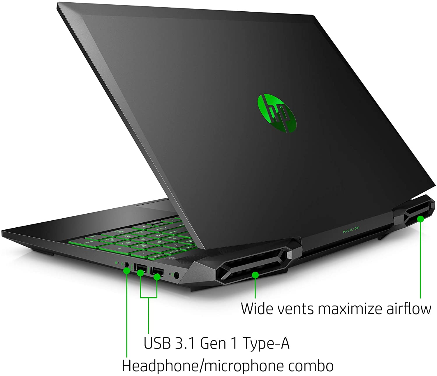 Back and side view of the HP Pavilion 15 gaming laptop.